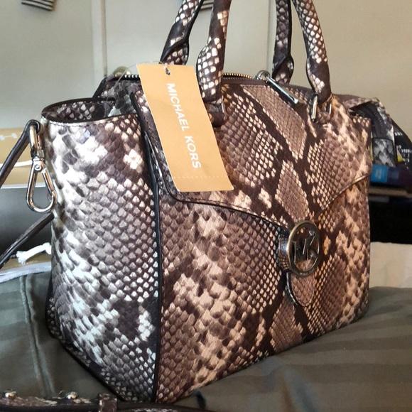 c7cd6fcdfc06 Michael Kors Bags | Price Firm Snakeskin Vanna Satchel | Poshmark